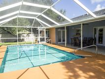 Classy swimming pool with cage. Swimming pool with cage attached to outdoor living space stock photography