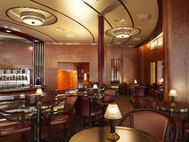 Classy upscale restaurant interior with bar. Stock Photos