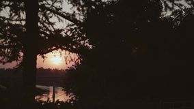 Classy view of the evening sunset. A beautiful disc of the sun over the river. Beautiful view of a beautiful sunset over the river in motion. Beautiful stock video footage