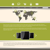 Classy website template design with green stripes Royalty Free Stock Images