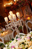 Classy wedding table setting. A beautiful wedding table setting with crystal candle holder Royalty Free Stock Photo