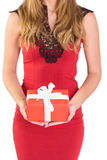 Classy woman holding a gift. On white background Royalty Free Stock Photos