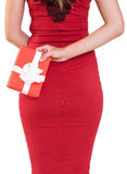Classy woman holding a gift Royalty Free Stock Image