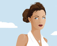 Classy woman outdoor. Illustration Royalty Free Stock Photo