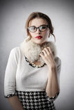 Classy woman wearing fashionable clothes Royalty Free Stock Photos