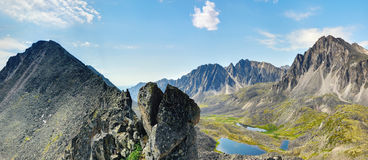Clastic rock and a view of the mountain valley. Eastern Siberia Stock Photo