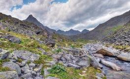 Clastic rocks near the mountain river Royalty Free Stock Photos