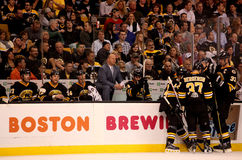 Claude Julien and the Boston Bruins bench. royalty free stock photos