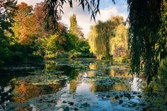 Claude Monet ο κήπος το φθινόπωρο, κρίνοι νερού στη λίμνη μια ηλιόλουστη ημέρα στοκ φωτογραφίες