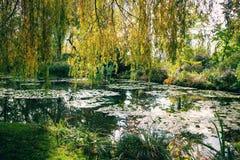 Claude Monet ogród w jesieni, wodne leluje w jeziorze na słonecznym dniu Obraz Royalty Free