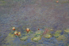 Claude Monet painting featured on large painting in Musée de l'Orangerie, Paris, France - shot in August 2015 Royalty Free Stock Photo