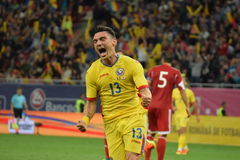 Claudiu Keseru (Romania) celebrating scoring a goal Stock Images