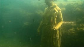 Claudius nympheum. The underwater ruins of the nympheum of the roman emperor claudius at baia in italy stock footage