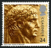 Claudius UK Postage Stamp. UNITED KINGDOM - CIRCA 1993: A used postage stamp from the UK, depicting an image of Roman emperor Claudius from a Gold Coin found at stock photo