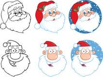 claus łatwych gradientów wielka rękojeści głowa ilustracyjny drukowy Santa Inkasowy set Obraz Stock