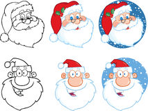 Claus εύκολο κλίσεων μεγάλο santa εκτύπωσης απεικόνισης λαβών επικεφαλής στο διάνυσμα Σύνολο συλλογής Στοκ Εικόνα