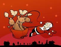claus вытягивая взбунтованные сани santa северных оленей Стоковая Фотография