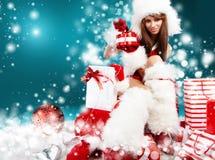 claus одевает носить santa девушки сексуальный Стоковые Изображения RF