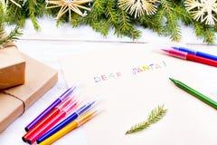 claus bokstav santa till Julkort önskelistautrymme Fotografering för Bildbyråer