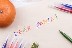 claus bokstav santa till Julkort önskelistautrymme Royaltyfri Fotografi