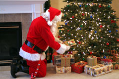 claus cmyk barwi dostarczający ilustraci teraźniejszość Santa wektor Obrazy Royalty Free