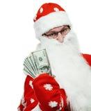 claus dolarowa szczęśliwa kapeluszowa pieniądze czerwień Santa Obraz Royalty Free