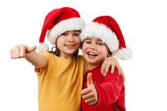 claus dzieciaki ok Santa znaka Obrazy Royalty Free