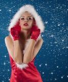 claus dziewczyna seksowny czerwony Santa obraz stock