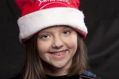 claus dziewczyny kapelusz Santa Fotografia Royalty Free