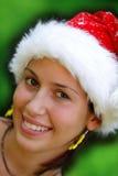 claus dziewczyny kapeluszowy portret Santa zdjęcia royalty free