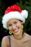 claus dziewczyny kapeluszowy portret Santa zdjęcie royalty free