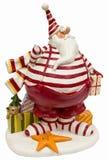 claus fet rolig pullover görade randig röda santa Arkivbild