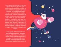 claus glada santa Le tecknad filmgamala mannen i satser passa för att flyga och gratulera barnen på julvektorillustration royaltyfri illustrationer
