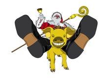 claus guld- pig santa Arkivbilder