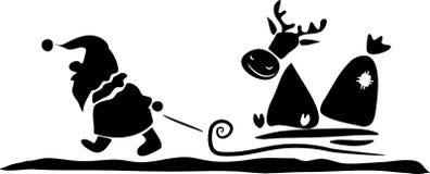 claus hjortar som släpar hans santa Royaltyfria Bilder