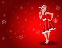 claus klädde upp flickan som stiftet santa Arkivfoton