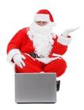 claus laptop Santa Zdjęcie Stock