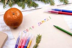 claus listowy Santa Kartka bożonarodzeniowa, listy życzeń przestrzeń Obraz Royalty Free
