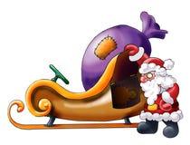 claus ma Santa jego pobliski spoczynkowego saneczki Fotografia Royalty Free