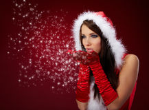 claus odzieżowej dziewczyny Santa seksowny target250_0_ fotografia stock