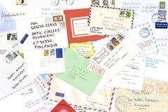 claus pisze list Santa Obraz Stock