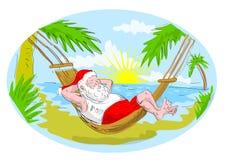 claus plażowy hamak Santa ilustracji