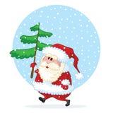 claus przychodzi Santa szczęśliwego sosnowego drzewa Fotografia Royalty Free