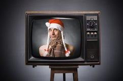 claus retro santa tvwishes Fotografering för Bildbyråer