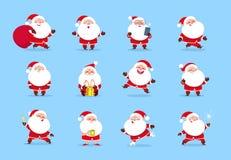 claus santa Det roliga teckenet för tecknad filmjul - ställ in för kort för hälsning för vinterferie Jultomtenvektorsamling stock illustrationer
