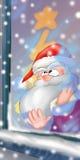 claus santa fönster Fotografering för Bildbyråer