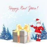 claus santa För Christmas för fader för mallhälsningkort punkter hand för en gåva royaltyfri illustrationer