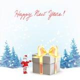 claus santa För Christmas för fader för mallhälsningkort punkter hand för en gåva vektor illustrationer