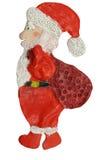 claus santa Hantverk från lera Children& x27; s-kreativitet Vit bakgrund Arkivfoto