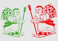 claus santa skidar vektor illustrationer